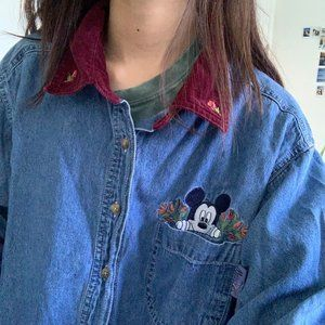 Vintage Mickey Mouse Denim Shirt with Corduroy Col
